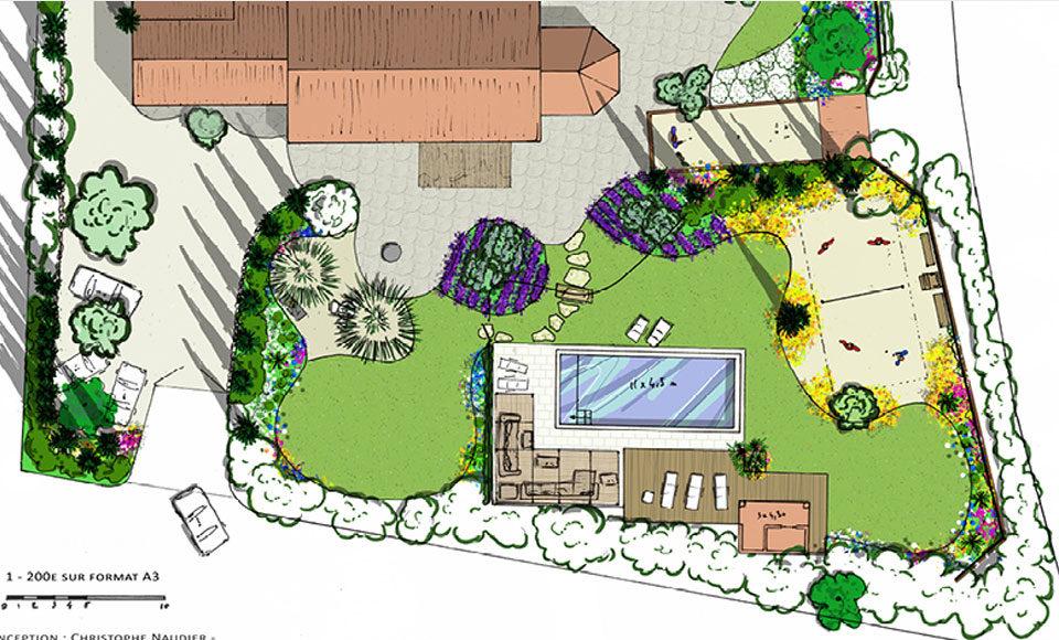 Conception de jardin plan Accent du Sud
