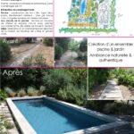 Création jardin et construction de piscine avant après