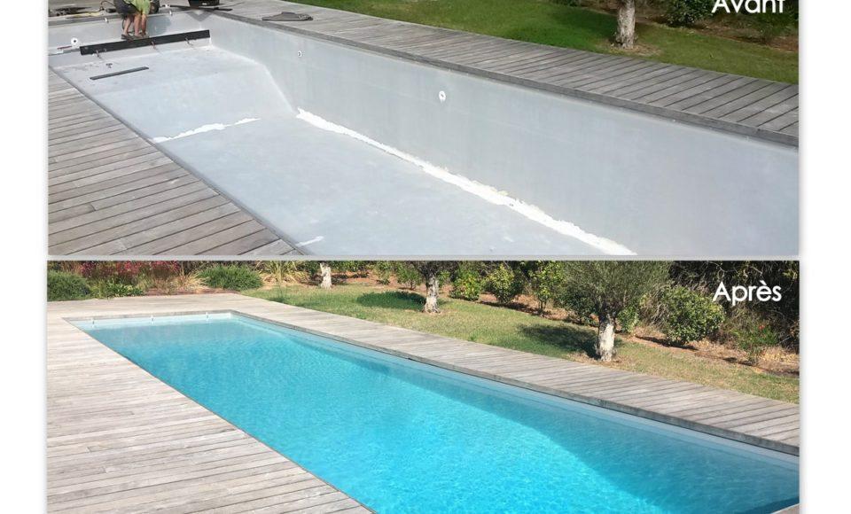 Rénovation de piscine en béton avant après