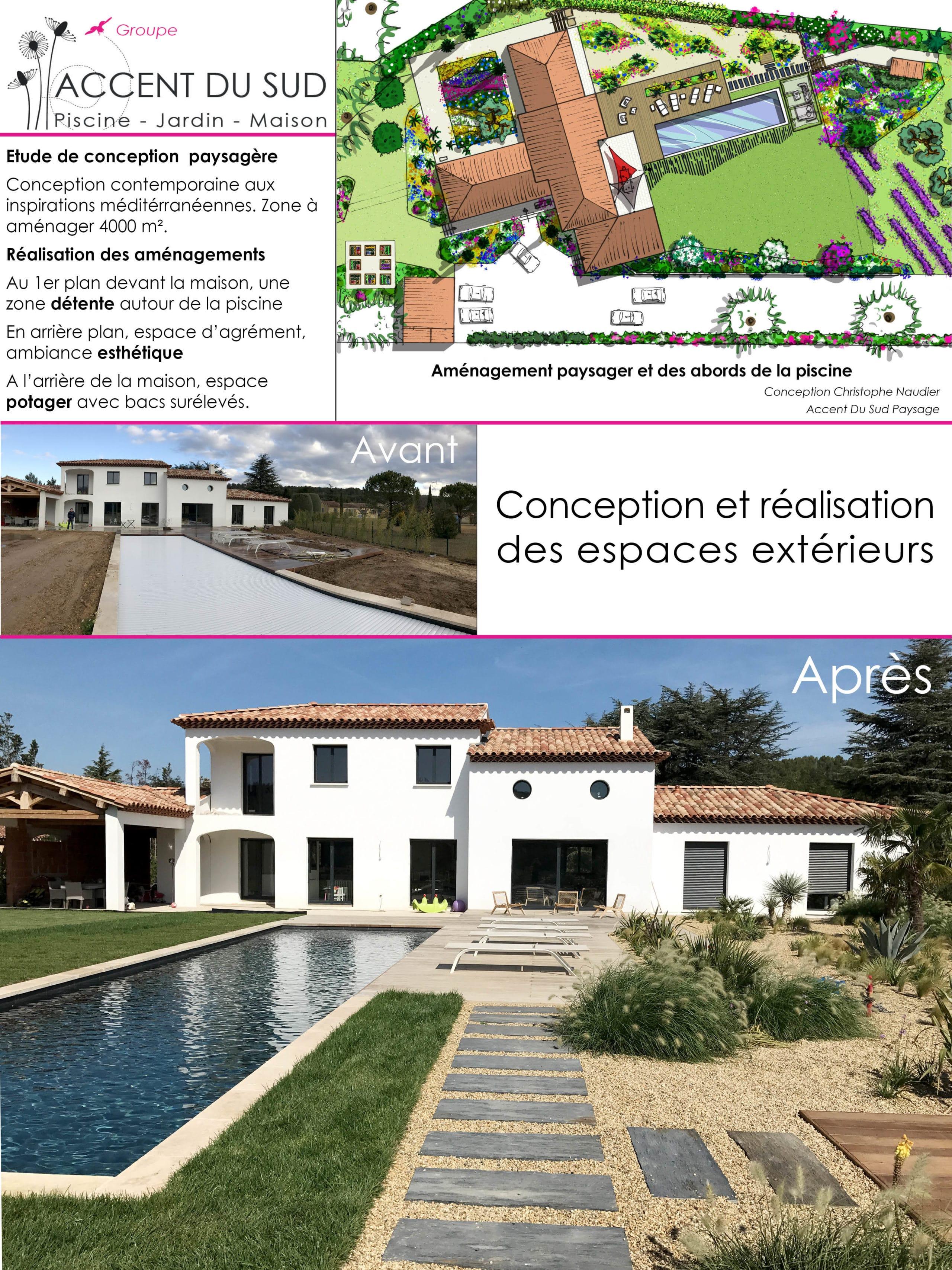 Conception et réalisation d'un jardin extérieur avec piscine