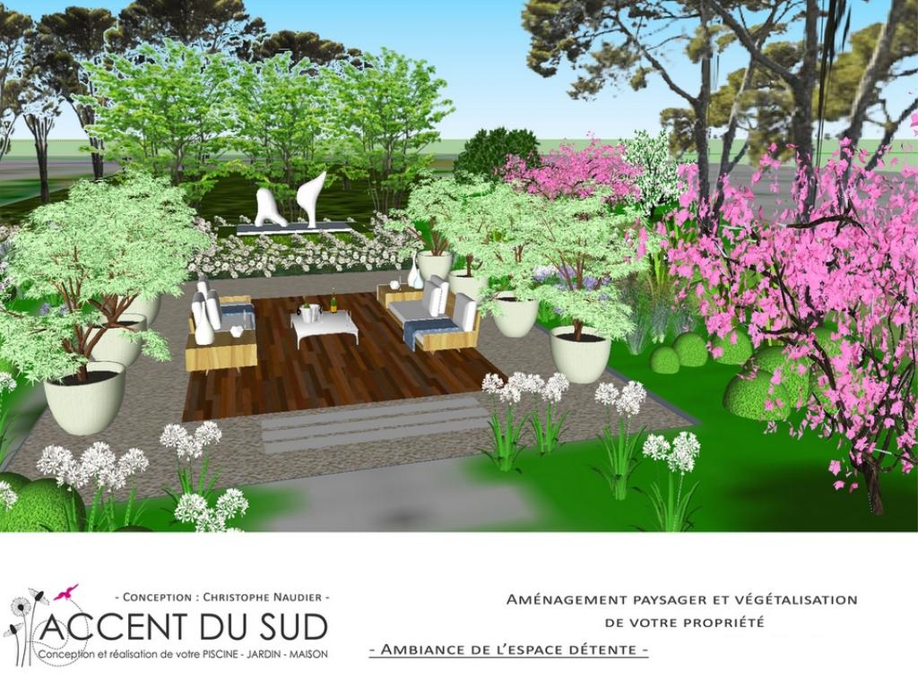 Conception d'un jardin avec vue sur un espace détente