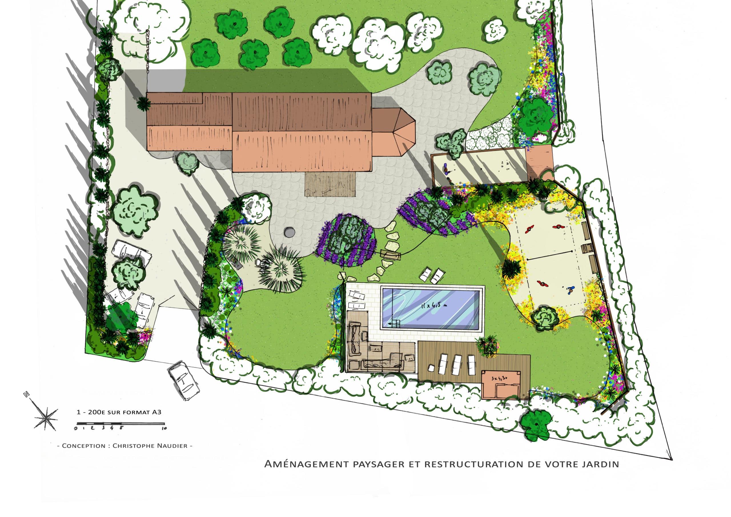 Création d'un jardin paysager projet Accent du Sud