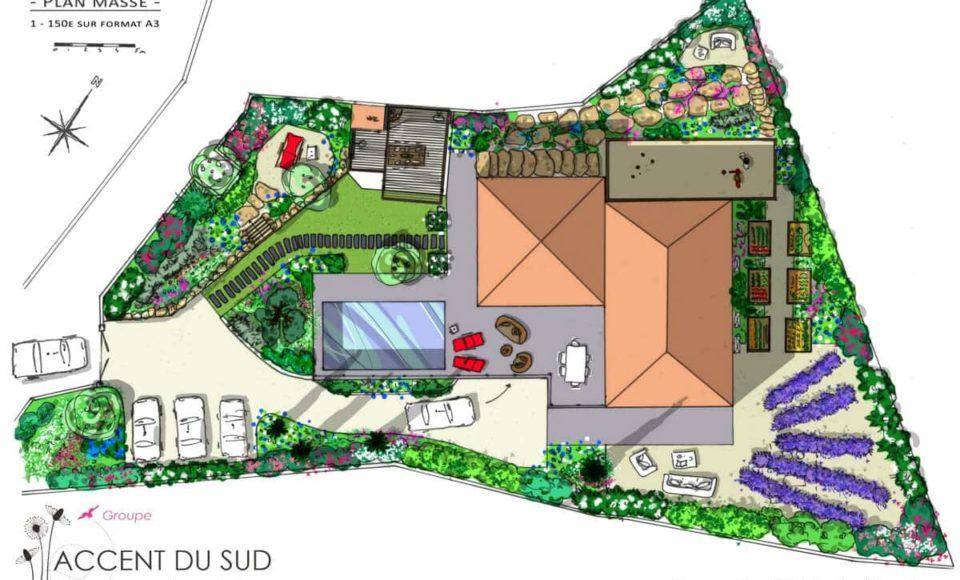 Aménagement exterieur jardin études Accent du Sud