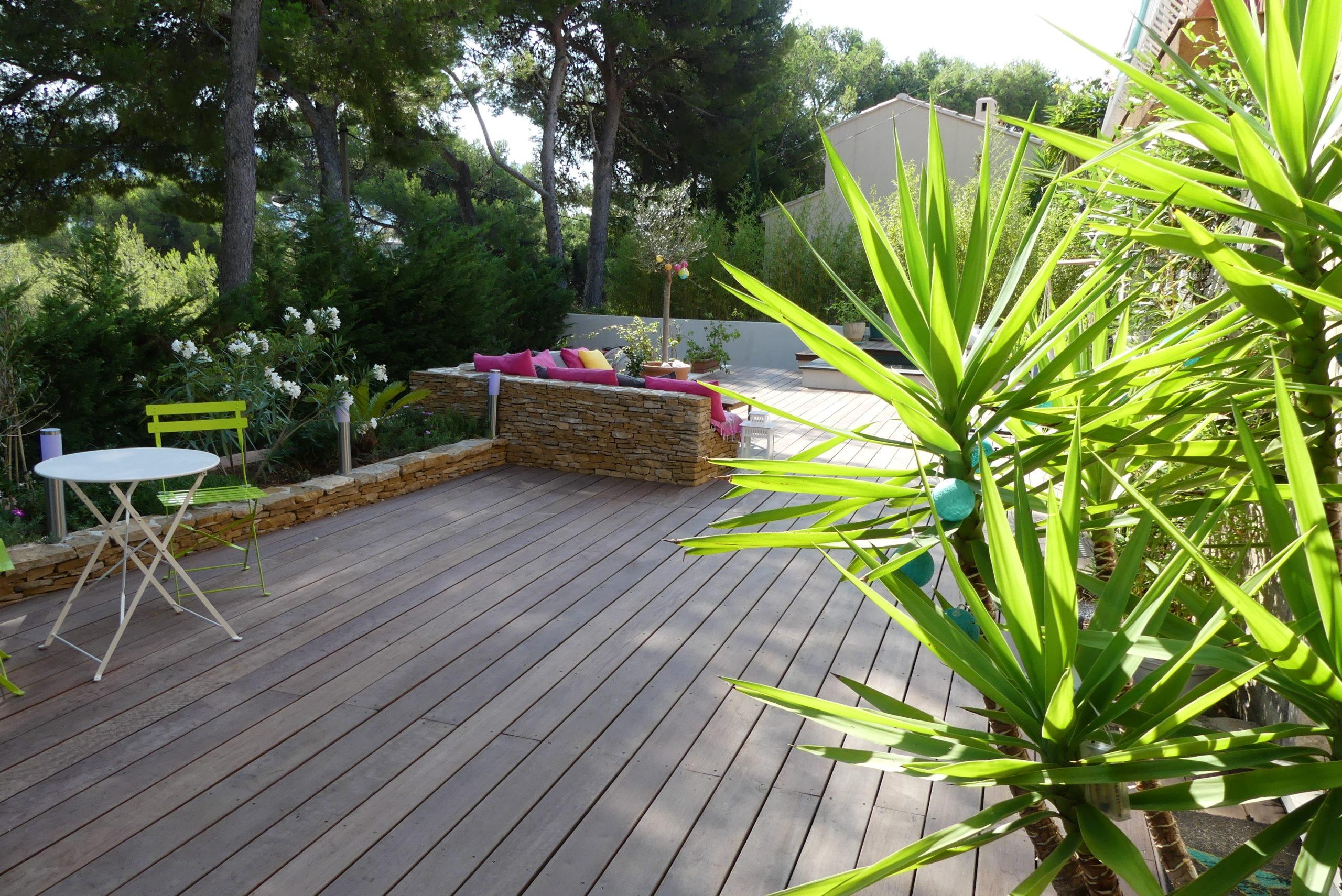 Création jardin zen terrasse exotique