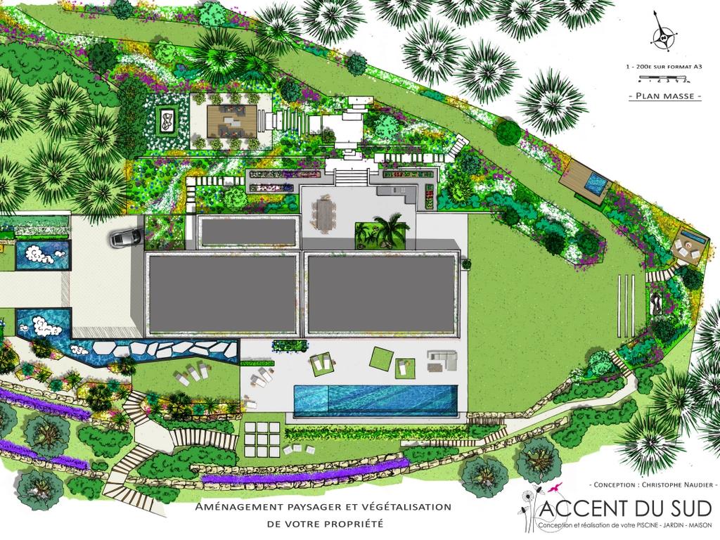 Piscine de luxe avec aménagement paysager plan
